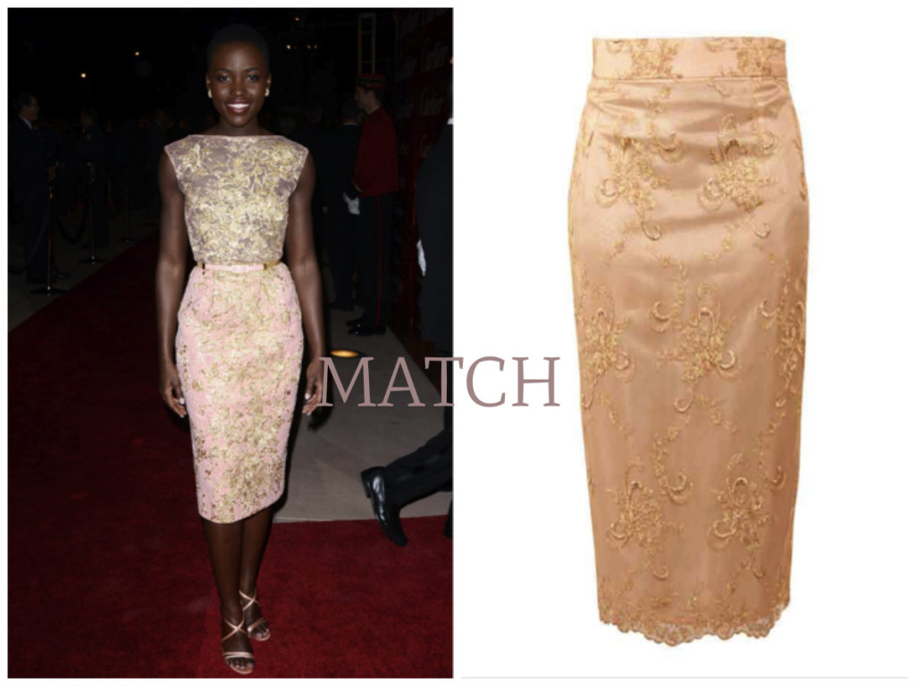 Lupita sporting an embroidered dress not too dissimilar to the Kitty Lace Skirt