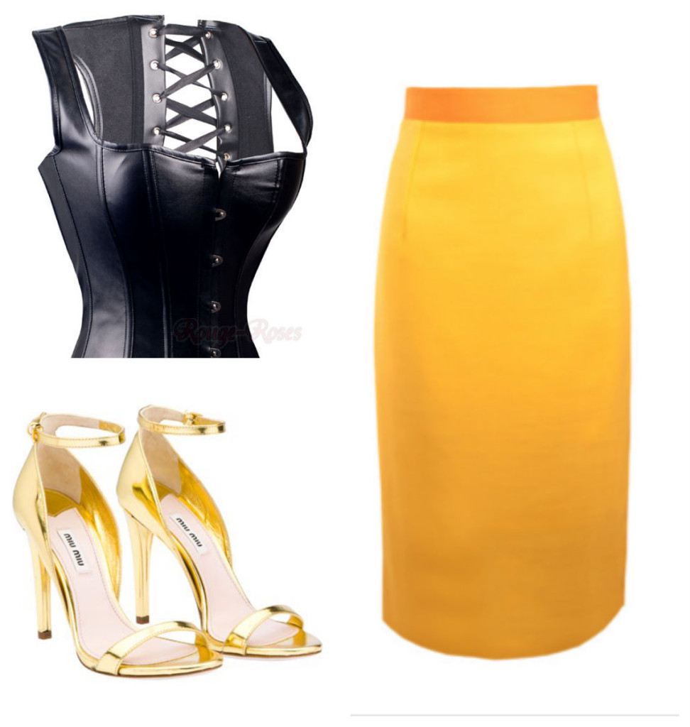 Kitty Ferreira Twice Shy Skirt coupled with sultry Black Leather Bustier and Gold High Heels