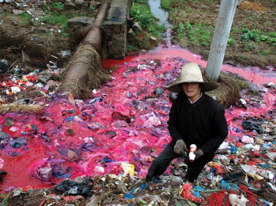Textile dye waste in running water