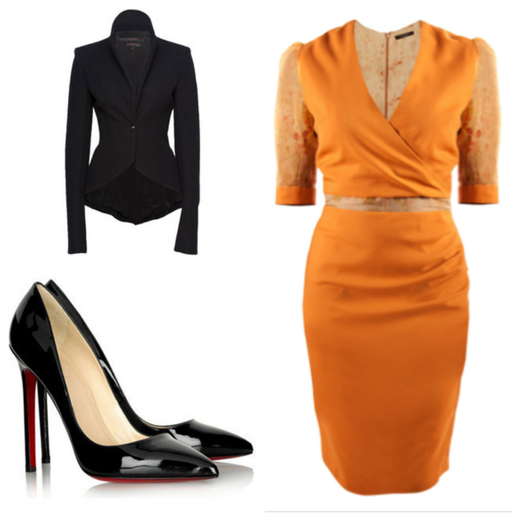 Kitty Ferreira Delice Dress coupled with fitted Black Blazer and red-bottomed Black High Heels