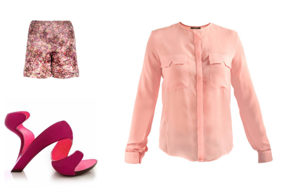 Kitty Ferreira Dolly Shirt and Floral Shorts paired with stylish Julian Hakes pink Mojito Metallic Heels