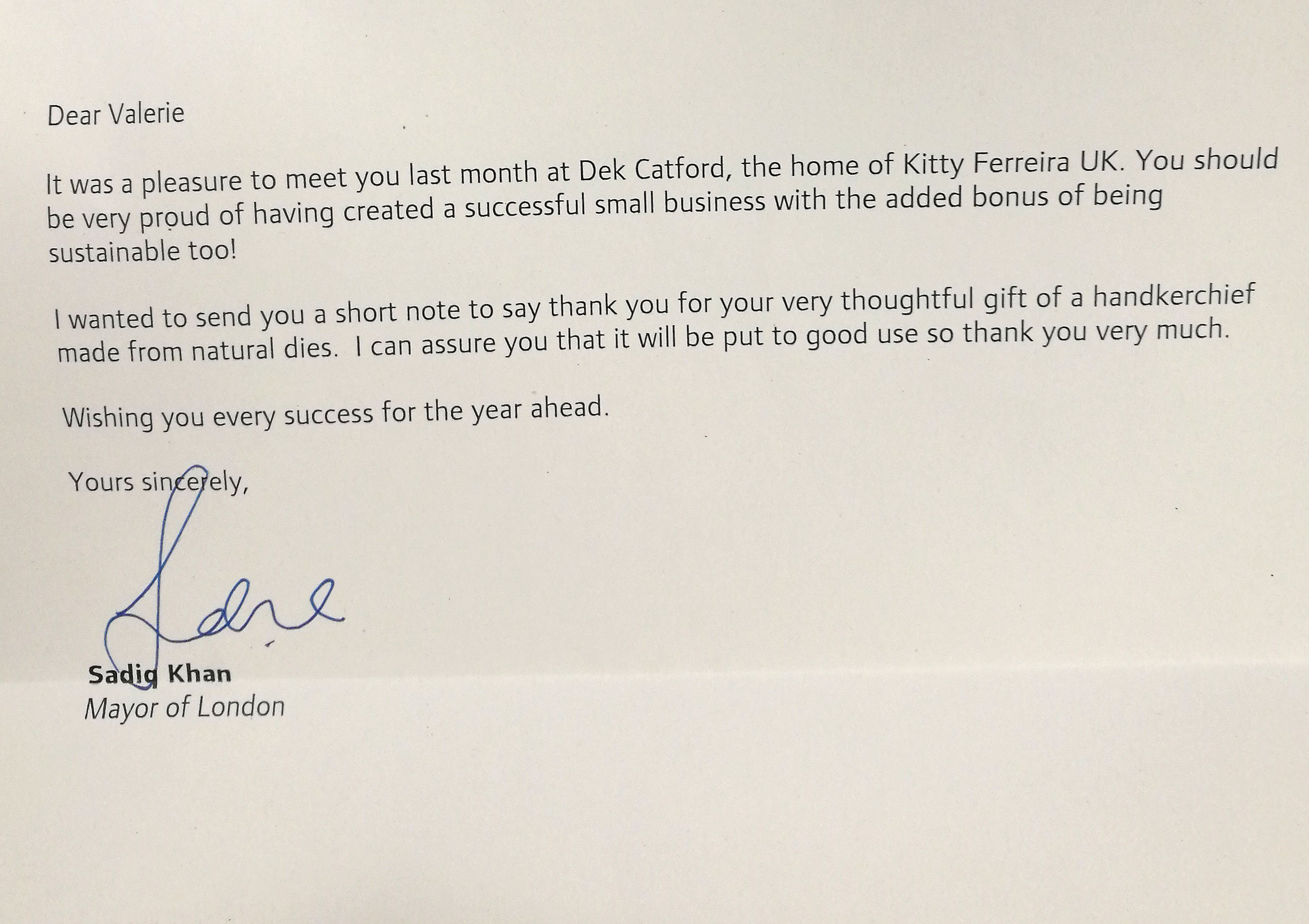 Thank you letter from Sadiq Khan, Mayor of London